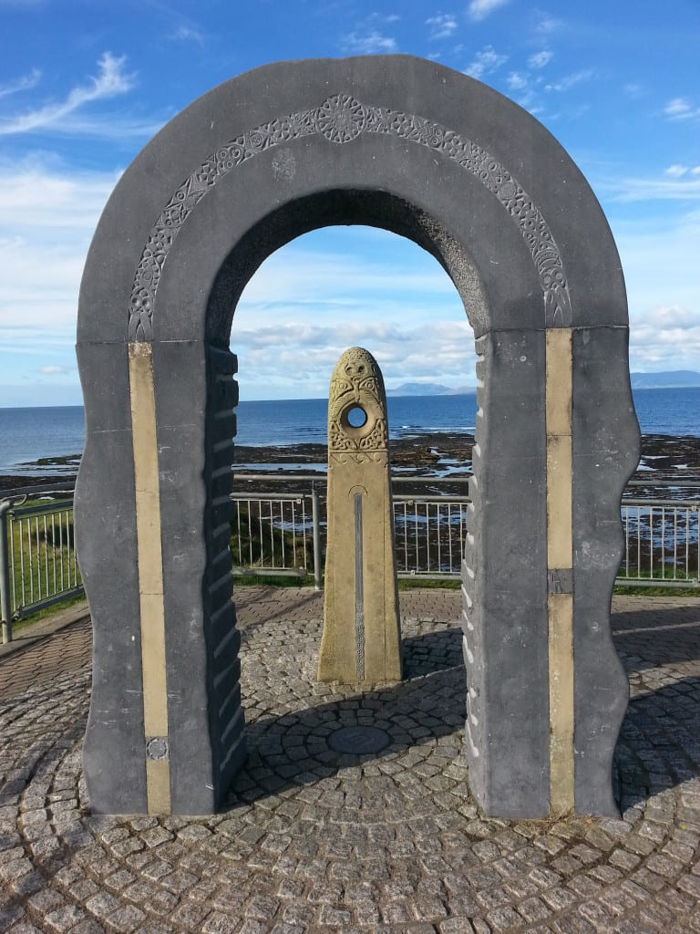 Students will see this Celtic-inspired artwork that overlooks the shoreline in Bundoran.