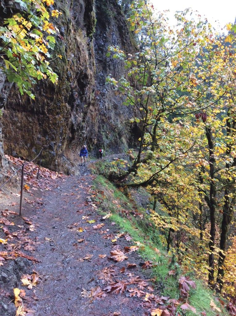 Hikers walk along a narrow trail cliffside along the Eagle Creek Trail.