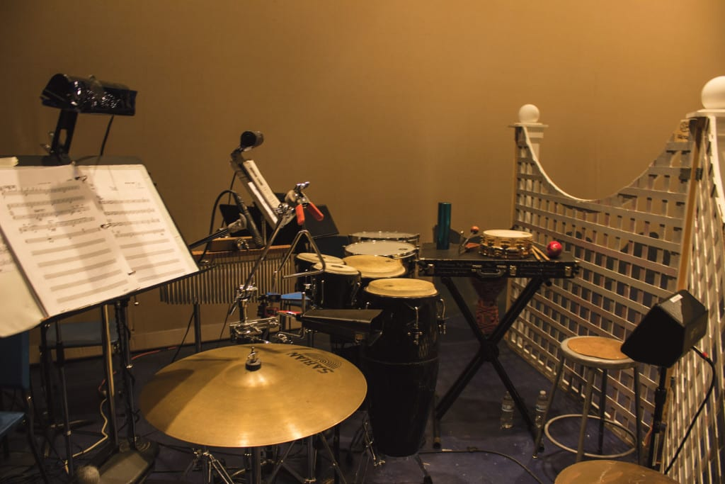 A view of the percussion section. Afro-Caribbean rhythms were featured in this show.