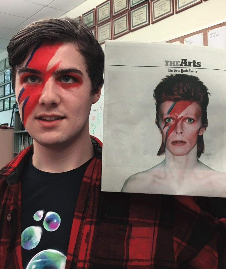 Arts and Culture Editor Matthew Rowning paints his face in tribute to David Bowie.