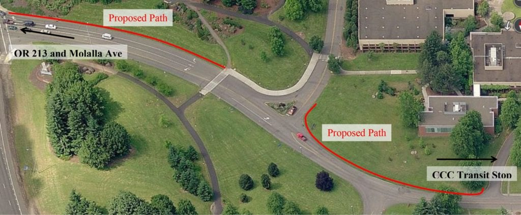 The college plan shows future sidewalk connecting the main campus to Highway 213.