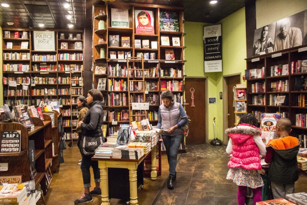 People brows the books at Politics and Prose, the bookstore withing the restaurant Busboys and Poets on U Street in D.C.