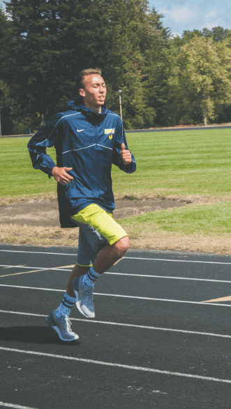 CCC athlete Tyrone Stintzi uses campus facilities to stay active in preparation for spring track.